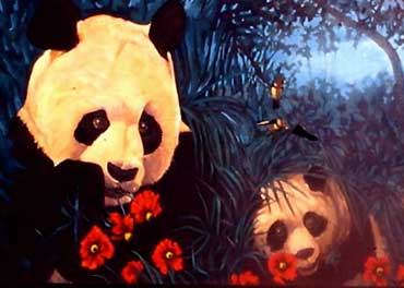 Pandas And Poppies